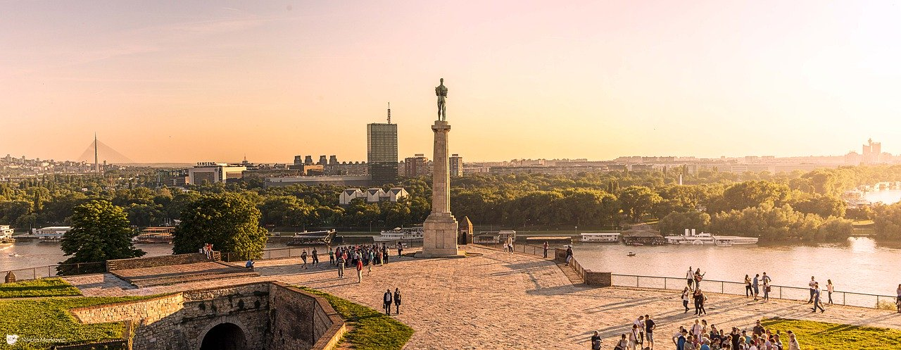 Pobednik, a monument at the Belgrade Fortress, panoramic view from Kalemegdan park