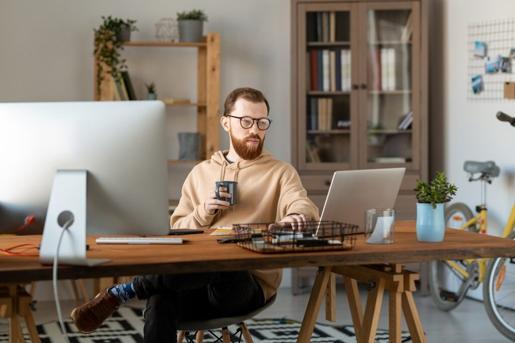 freelancer using computer